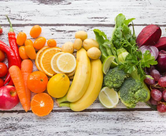 rainbow vegetables and fruit