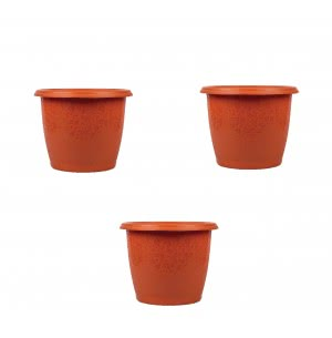 Palm Plastic Pot Set of 3 - Diameter 12 Inch