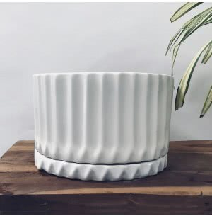 Fleeting Bliss White Ceramic Pot (11.7 Inch Diameter)