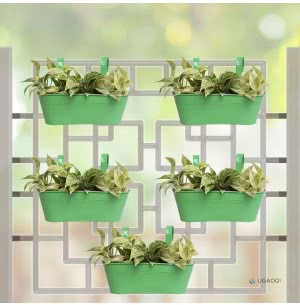 Oval Railing Planter Medium - Set of 5 - Green