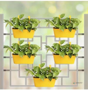 Oval Railing Planter Medium - Set of 5 - Yellow