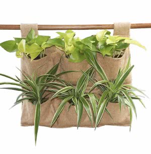 Hanging Jute Grow Bags 6 packet for vertical gardening
