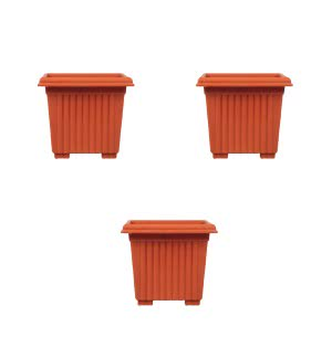 Milan Square Plastic Planter No.10 - Set of 3