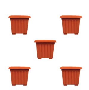 Milan Square Plastic Planter No.8 - Set of 5