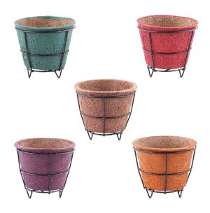 Coir Pots Multicolor 6 in. With Metallic Stand - Set of 5
