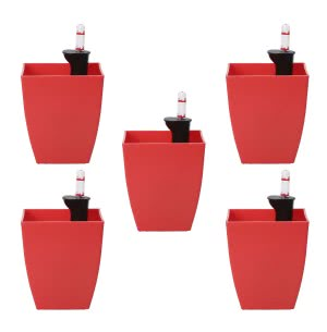 Chatura Red Self Watering Planter - Set of 5