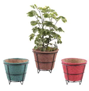 Coir Pots Multicolor 6 in. With Metallic Stand - Set of 3