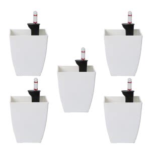 Chatura White Self Watering Planter - Set of 5