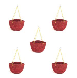 Geo-Faab Round Hanging Grow Bag - 8 in x 6 in (Dia. x Height)- Set of 5