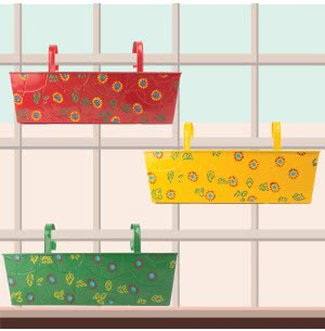 Green Girgit Rectangle Handpainted Planter - Set of 3 - Multicolor