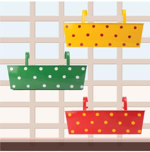 Green Girgit Rectangle Polka Dots Planter - Set of 3 - Multicolor