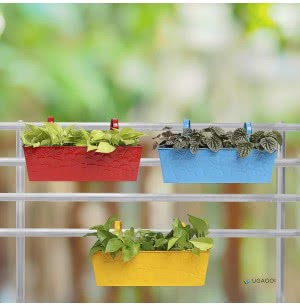 Green Girgit Rectangle Floral Planter - Set of 3 - Multicolor