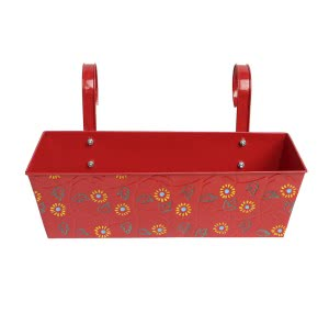 Green Girgit Rectangle Handpainted Planter - Set of 3 - Red