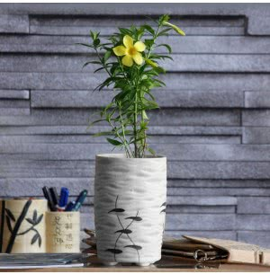 Ocean Wave Matte Finish Ceramic Planter (5.6 Inch Diameter)