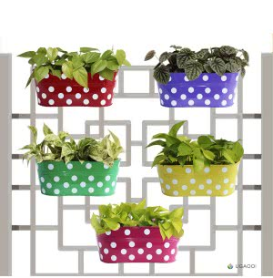 Polka Dot Oval Railing Planter - Set of 5