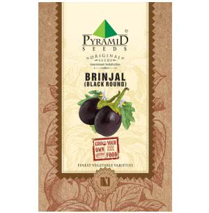 Black Brinjal Vegetable Seeds (Round)
