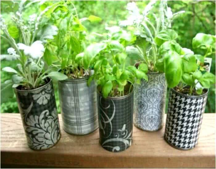 recycled tin containers