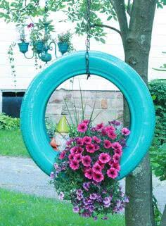 hanging tyre with flowers