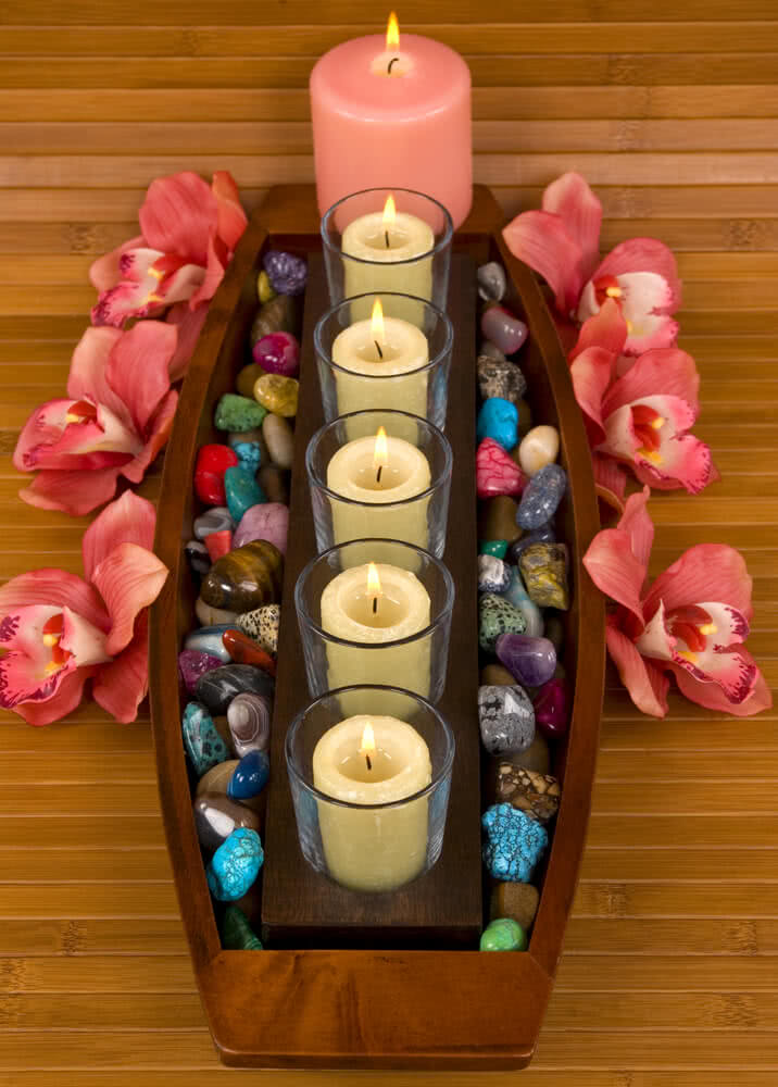 candle stones pebbles