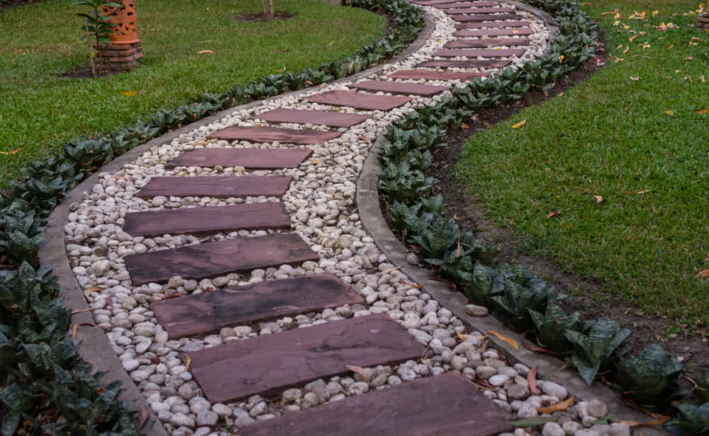 garden pathway with stone tile