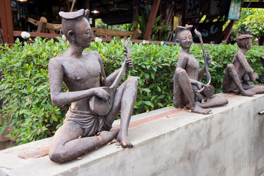 ceramic dolls statue at rock garden