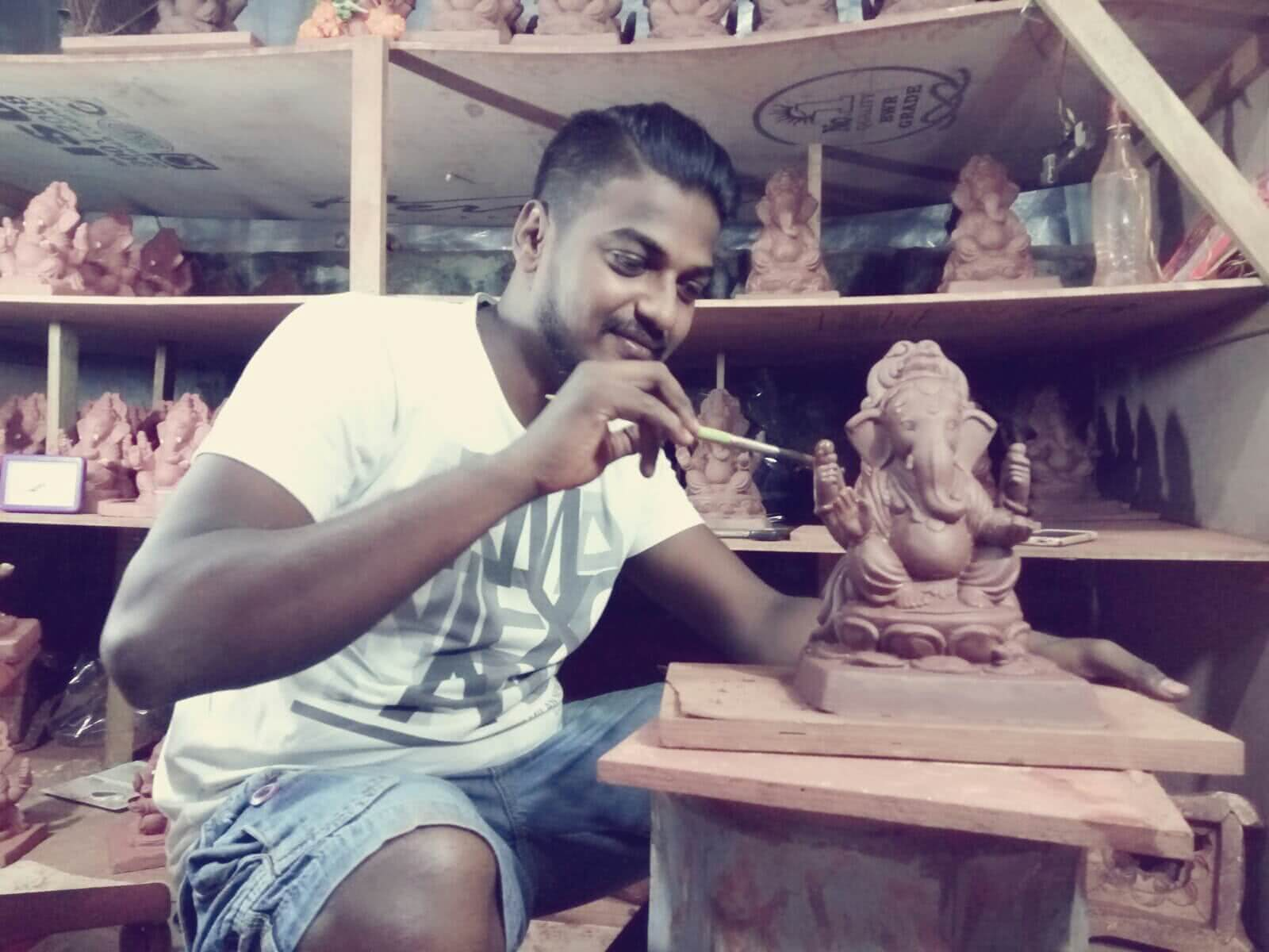 how to make eco friendly ganesh idols by Dattatri Kothur