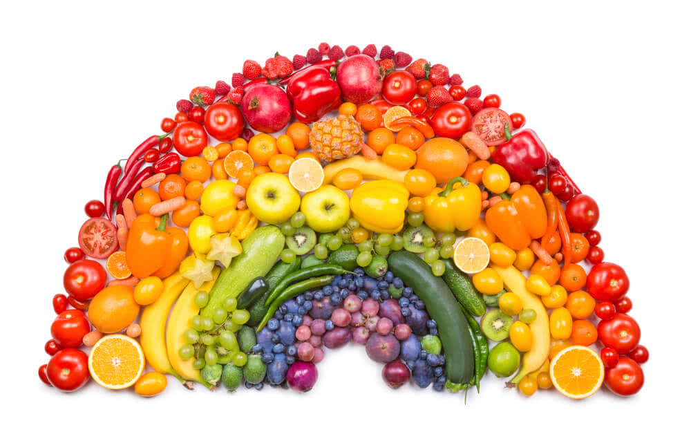 fruits and vegetables of seven colors