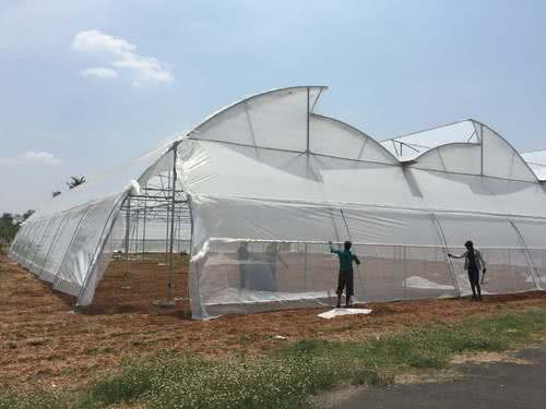 constructing plastic house for growing crops